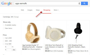 Example search results from Google Shopping.