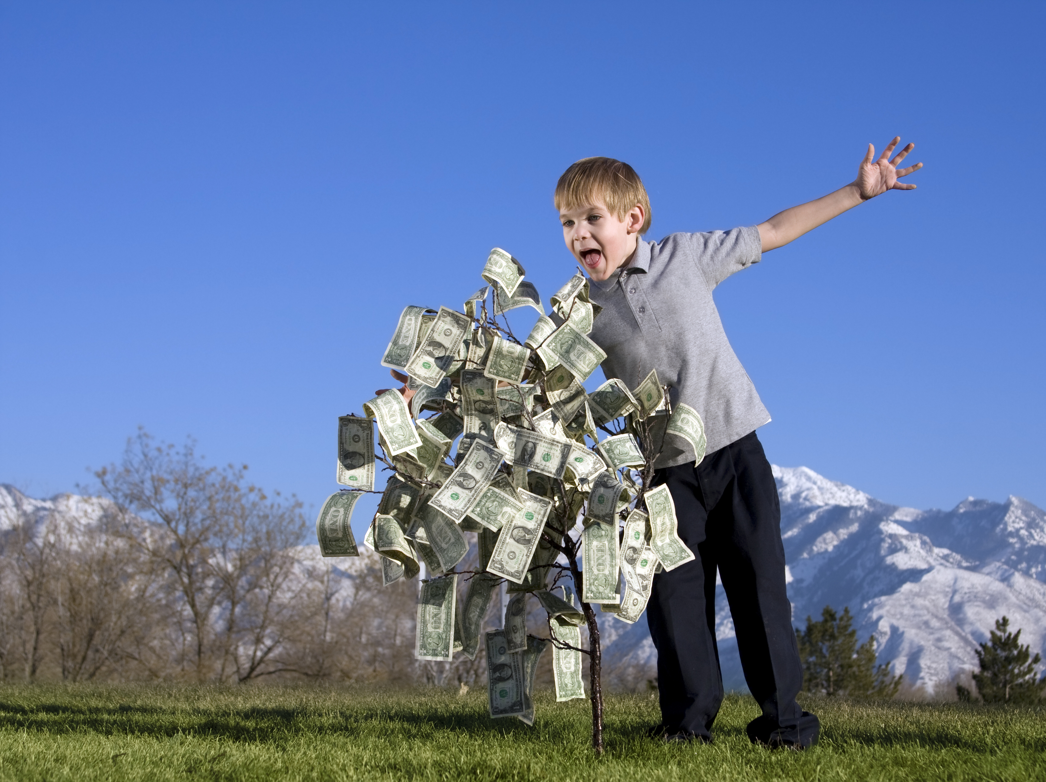 This kid sure noticed the money in the tree! [Has anyone ever wondered how bizarre a stock photo shoot must be?] Image from Thinkstock