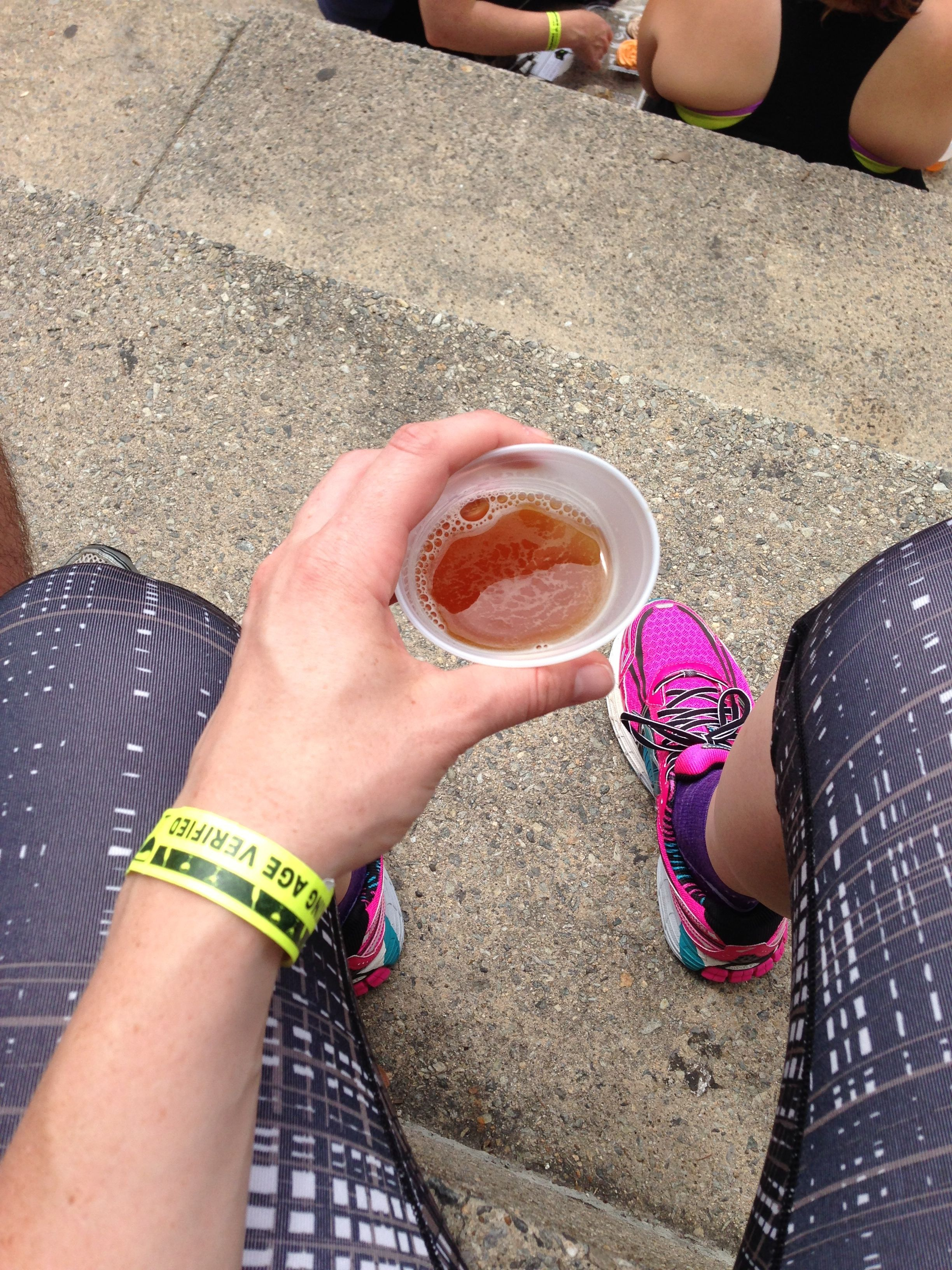 The best part of the race: Tasty beer and neon sneaks.