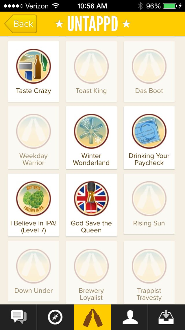 Some of the Untappd badges I've earned--and exciting new badges to unlock by drinking more beer.