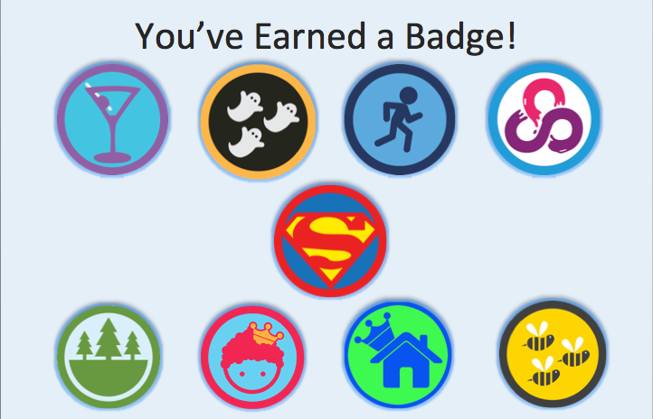 Some of the many Foursquare badges users could earn through check-ins