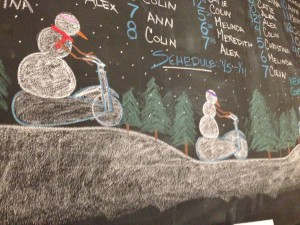 The art at Flywheel last week reflected the cold, cold weather outside.
