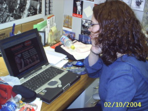This 2004 (!!!) photo of me in my grad school office was supposed to be a joke about me goofing off and not working. Regardless, I was not coding. I was also not cleaning my desk, apparently.