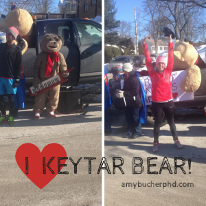 In which I learn that asking a stranger who clearly has no idea who Keytar Bear is to take a picture of me with Keytar Bear results in a picture of me with the bear head on the truck behind Keytar Bear.