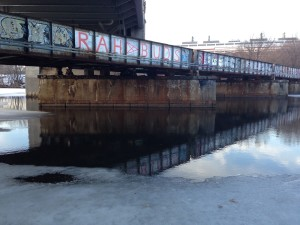 Ice melting under the BU Bridge.
