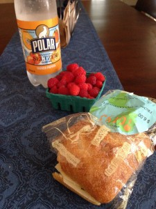 One of my favorite healthy summer lunches: Locally made seltzer, fresh raspberries from the farmer's market, and a simple sandwich made on Iggy's bread.