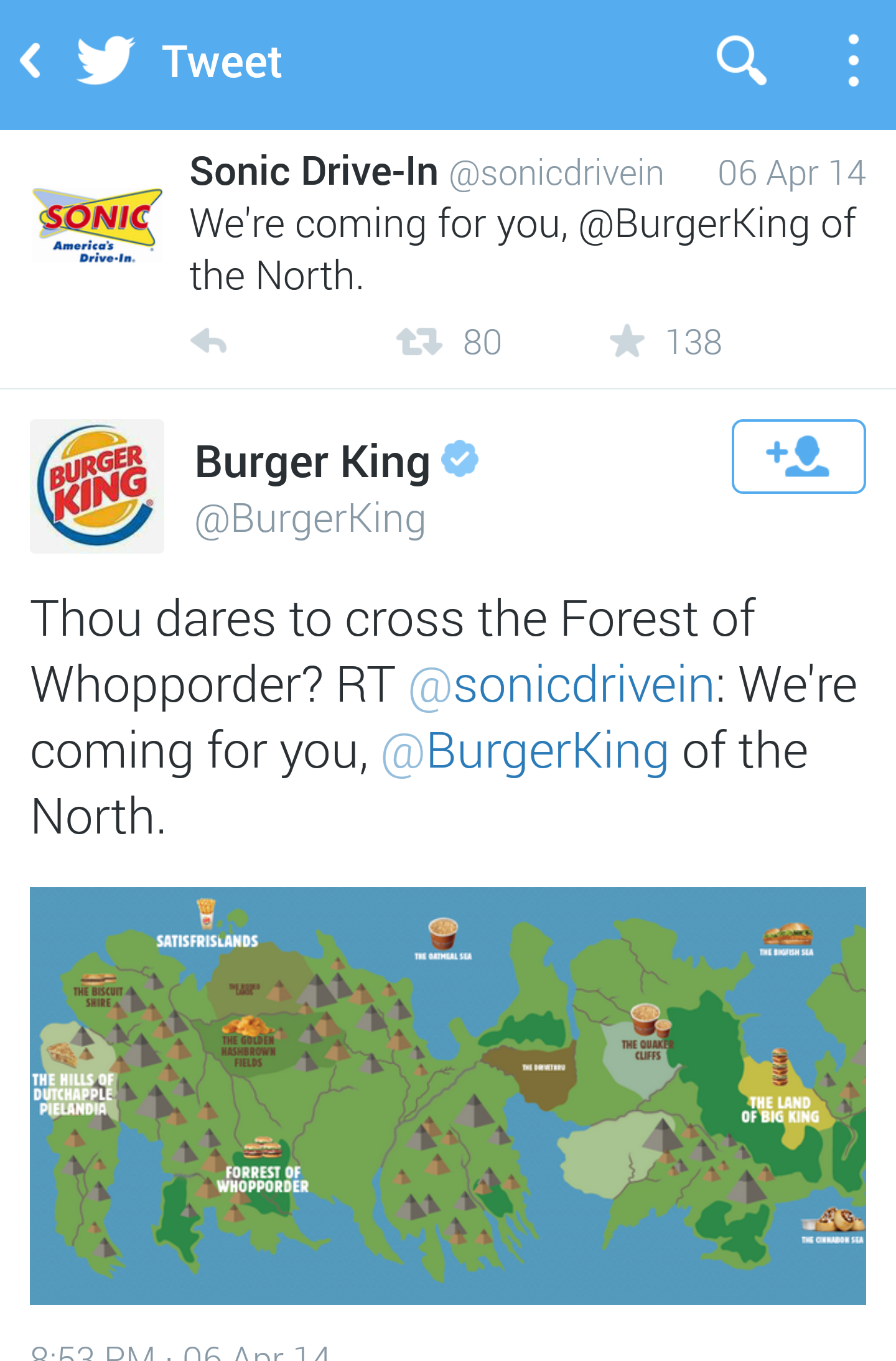 Burger King actually created a burger-themed GoT map for their response.