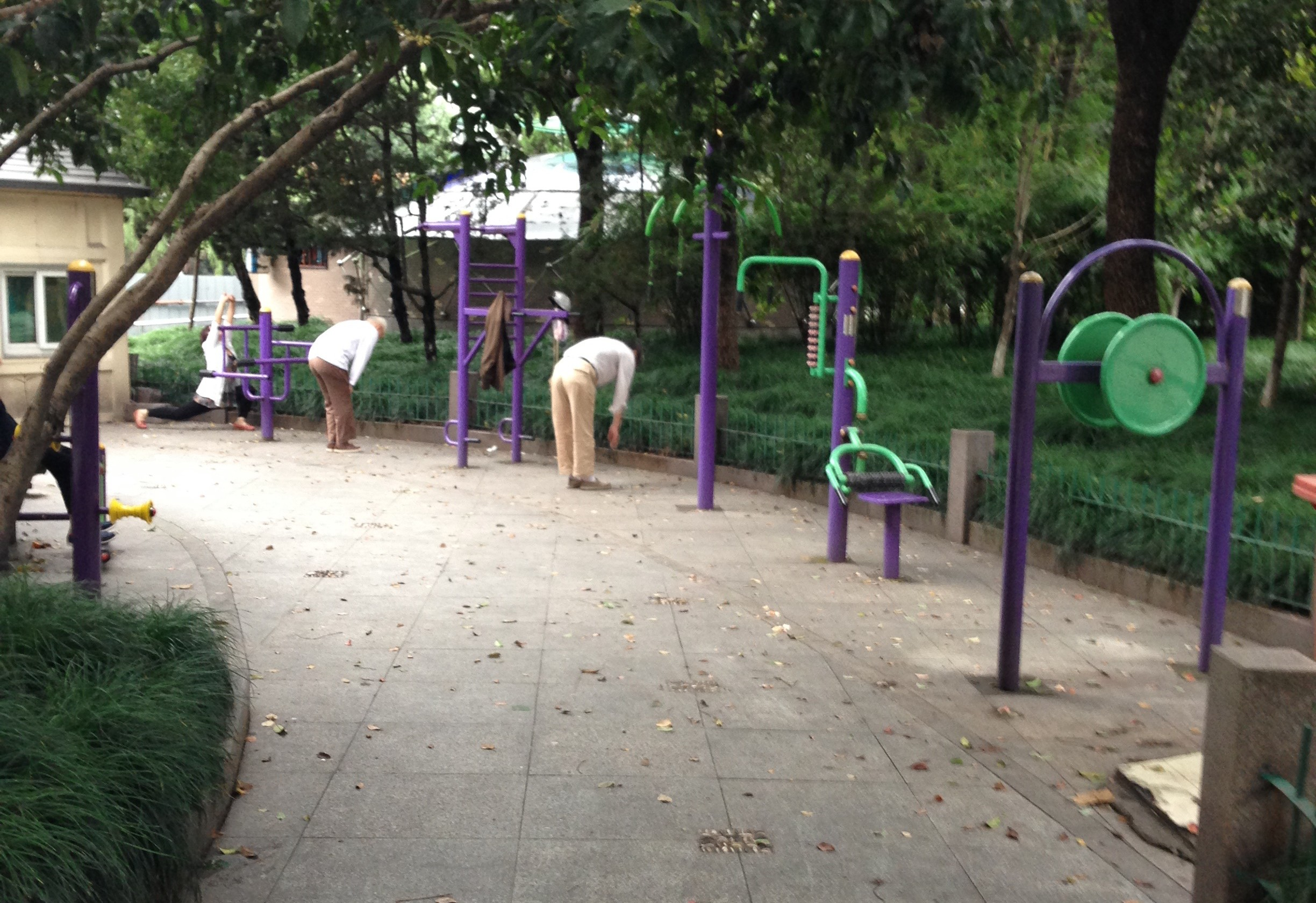 Hongzhou residents get exercise in one of the many public parks.