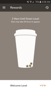 Three lonely stars bouncing around in my Starbucks cup . . . I should get more stars.