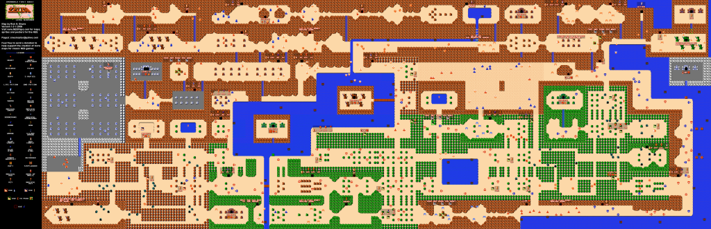 The full Legend of Zelda overworld map, in its 8-bit glory.
