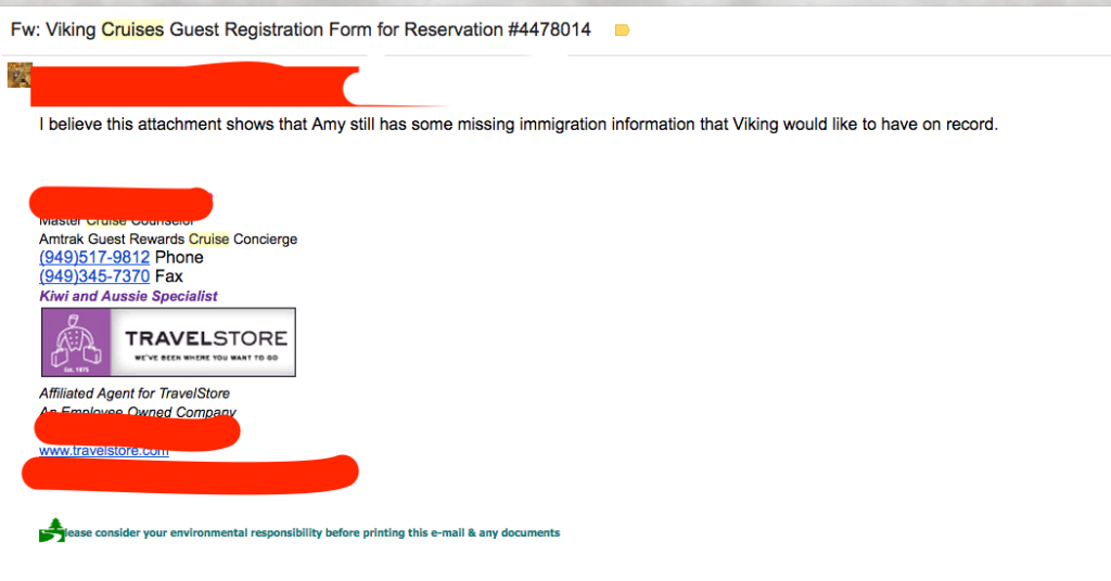 I have bad news about my ability to supply the missing travel documents for Amy.