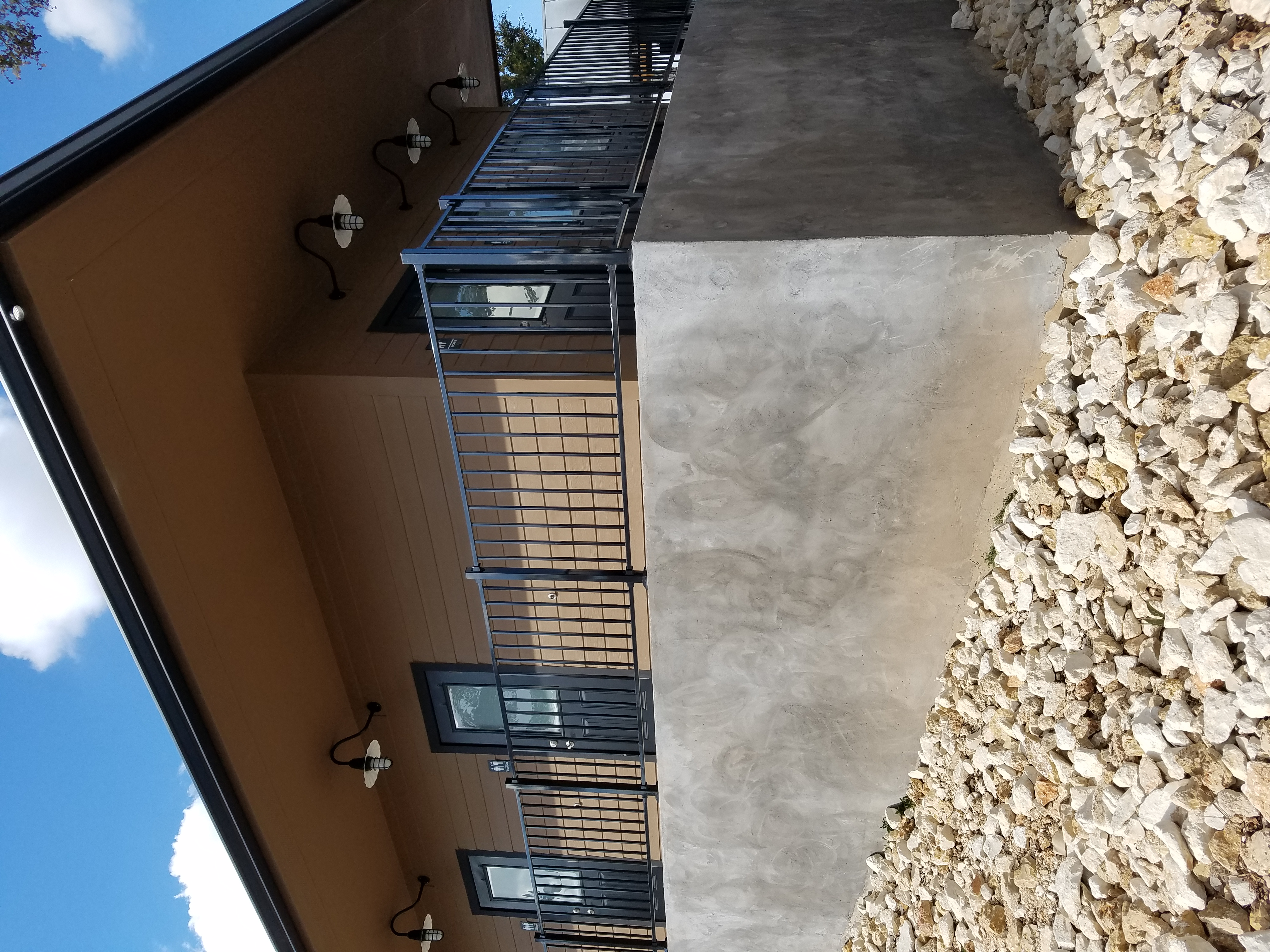One of the buildings with shared bathroom facilities for village residents.