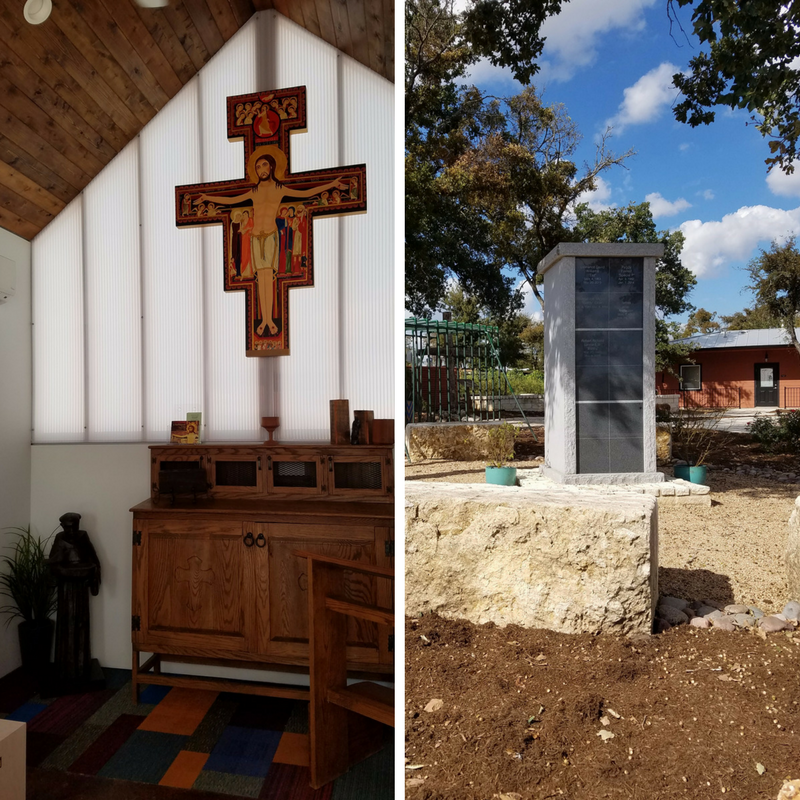 Interior of the community chapel (left) and the memorial to deceased residents (right).