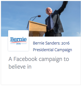 Bernie Sanders campaign . . . seems like a successful ad campaign for this would drive political behavior, no?