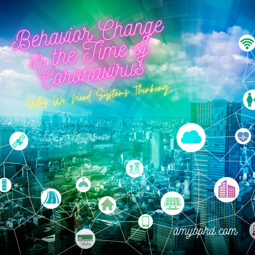 """Title card with the post title, """"Behavior Change in the Time of Coronavirus"""""""